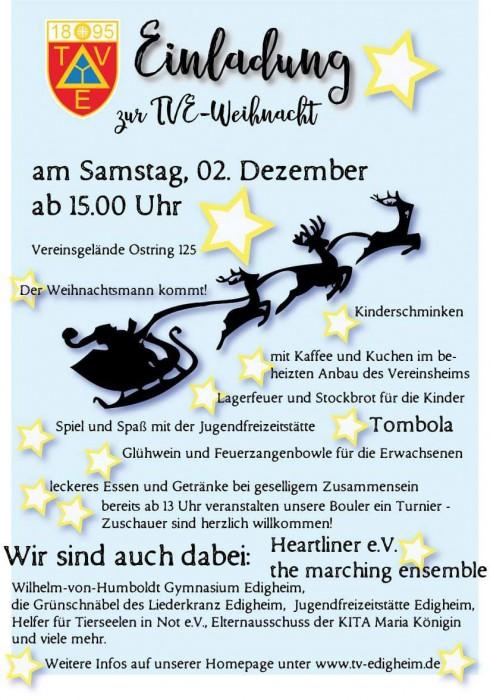 Einladung zur TVE-Weihnacht am Samstag ab 15 Uhr