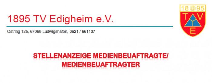 Medienbeauftragte / Medienbeauftragter Abt. Fussball TV Edigheim gesucht