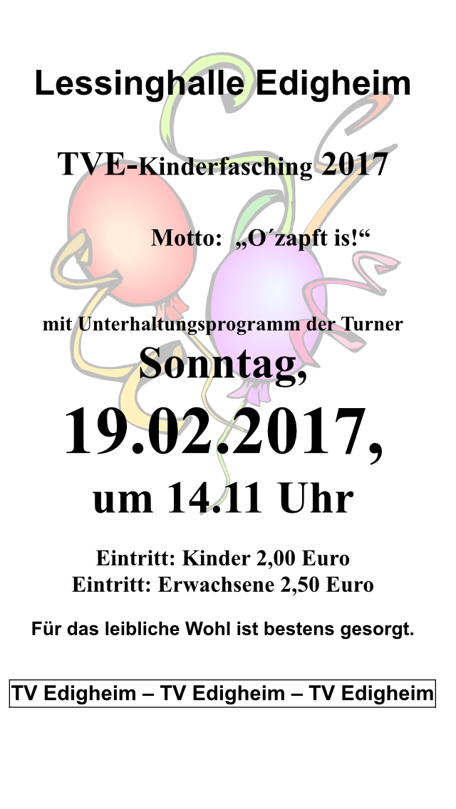 Kinderfasching am 19.02.